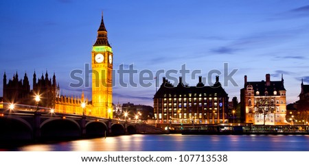 Panorama Landscape of Big Ben and Westminster Bridge with river Thames London England UK - stock photo
