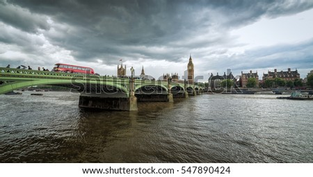 Panorama landscape of Thames bridge with Big Ben and Parliament in background