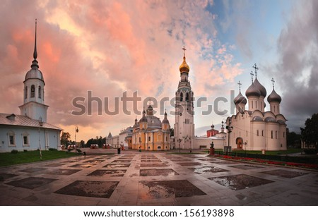 panorama landscape Orthodox Church - stock photo