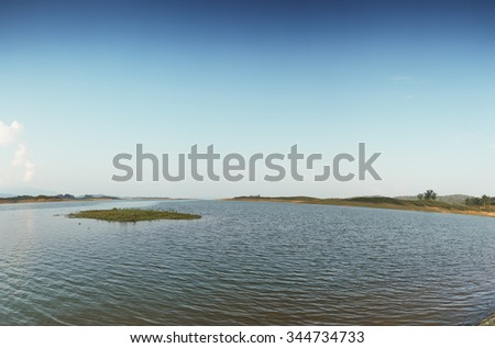 Panorama ,landscape  river and sky in summer