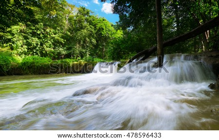 panorama landscape Upstream waterfall in the forest with green trees in the rainy season,Beautiful waterfall in Thailand