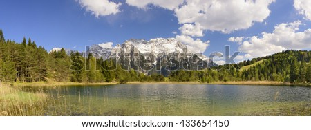 panorama landscape with alps mountains and lake in Bavaria, Germany