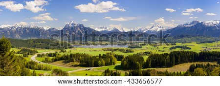 panorama landscape with alps mountains in Bavaria, Germany