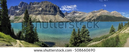 Panorama landscape with Rocky Mountains and mountain lake  on the Icefields parkway in Alberta, Canada