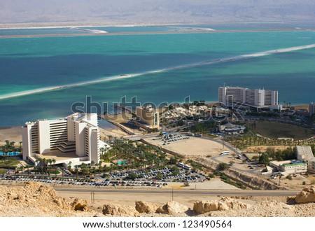 panorama - luxury resort on dead sea, Israel - stock photo