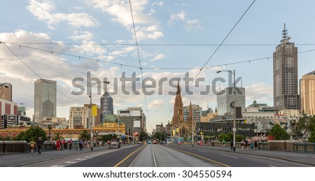 Panorama Melbourne Skyline on  Melbourne tramway street while Crossing Princes Bridge from Southbank at Sunset in Summer - stock photo