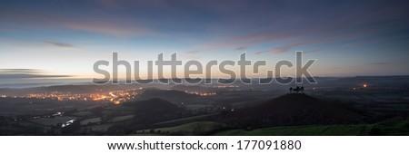 Panorama misty countryside landscape vibrant dawn sunrise - stock photo