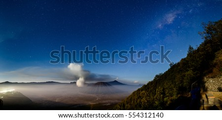 Panorama mount bromo with milky way Java - Indonesia