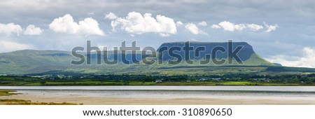 Panorama Mountain benbulben in Sligo, Ireland - stock photo