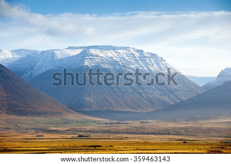 Panorama Mountain National Park Iceland.