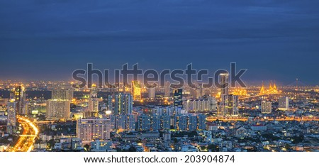 Panorama night landscape of center point in Bangkok, Thailand - stock photo