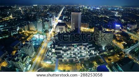 Panorama night scene of Taipei downtown ~ A Blue and Gloomy Night in Taipei ~ Aerial view of Taipei City in dusk - stock photo