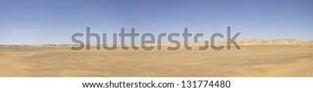 Panorama of a desert, Oasis area, Egypt - stock photo