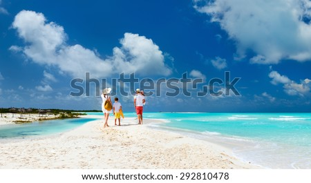 Panorama of  a happy family with kids on tropical beach vacation
