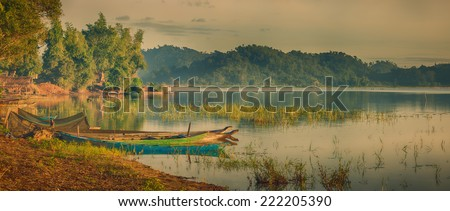 Panorama of a Lak lake at sunrise - stock photo