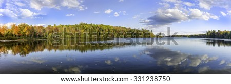 Panorama of a Lake in Autumn - Silent Lake Provincial Park, Ontario, Canada - stock photo