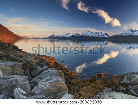Panorama of a mountain lake. Norway. - stock photo