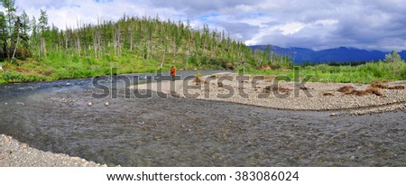 Panorama of a mountain river in Siberia. A quick bend of the river, on the Putorana plateau. - stock photo