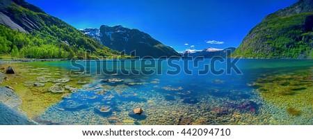 Panorama of a Norwegian fjord - stock photo
