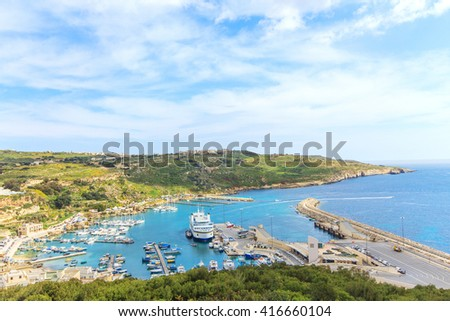Panorama of a port in Gozo island Malta - stock photo