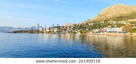 Panorama of a port in Kalymnos, Greece - stock photo