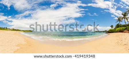 Panorama of a Tropical Beach on an Island - stock photo