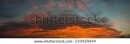 Panorama of a twilight sky Beauty Evening colorful clouds - sunlight with dramatic sky