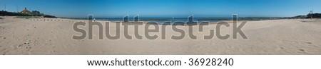Panorama of Aberdeen's sandy beach, known as Fun Beach, Scotland - stock photo