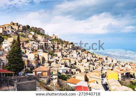 panorama of Aidone town in Sicily in spring, Italy - stock photo