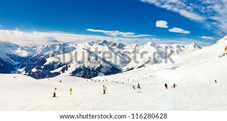 Panorama of Alps mountains in Mayrhofen, Austria - stock photo