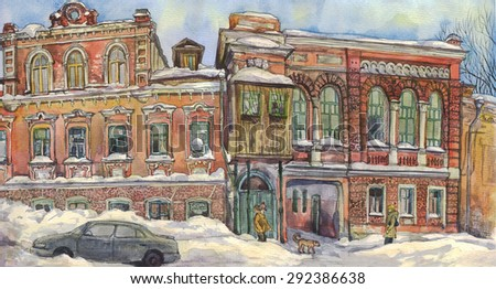 Panorama of an old city street in winter. Watercolor