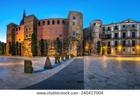 Panorama of Ancient Roman Gate and Placa Nova in the Morning, Barri Gothic Quarter, Barcelona, Catalonia, Spain - stock photo
