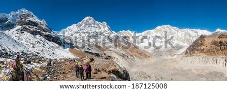 Panorama of Annapurna range from ABC (Annapurna Base Camp), Nepal - stock photo