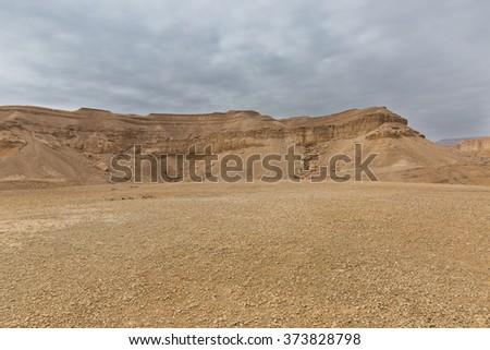 Panorama of Arava desert in Israel - stock photo