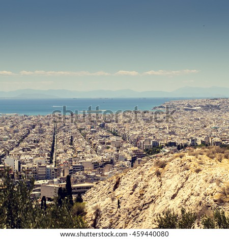 Panorama of Athens, Greece, from the hill