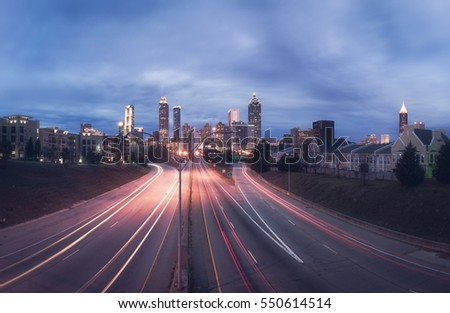Panorama of Atlanta city night skyline, Georgia, USA