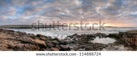 Panorama of Atlantic ocean in Doolin at sunset - stock photo