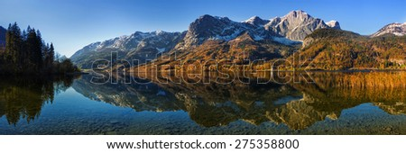 Panorama of autumn Grundlsee lake in Alps mountains, Upper Austria