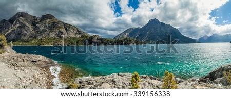 Panorama of Bahia Lopez bay in Nahuel Huapi lake near Bariloche, Argentina - stock photo