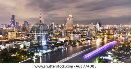 Panorama of Bangkok City at night time, Hotel and resident area in the capital of Thailand