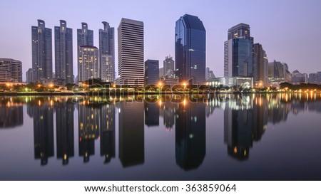 Panorama of Bangkok city downtown at twilight, Bangkok,Thailand - stock photo
