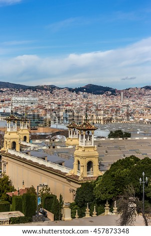 Panorama of Barcelona from an observation deck in front of Barcelona National Palace (The Palau Nacional). Barcelona, Catalonia, Spain.