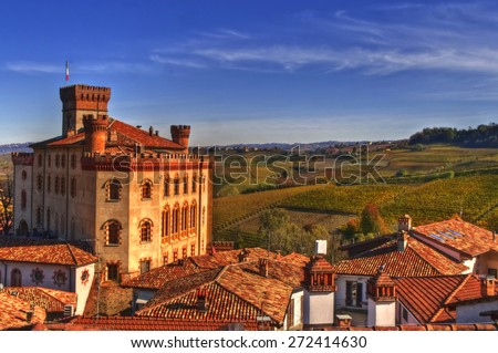 Panorama of Barolo roofs and castle, Barolo, Cuneo, Langhe, Piedmont, Italy - stock photo