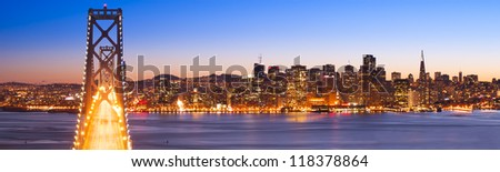 Panorama of Bay Bridge and San Francisco Financial District. San Francisco, USA. - stock photo