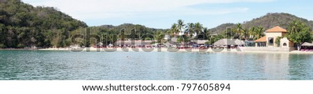 Panorama of Beach resorts seen from a cruise ship, Huatulco, Mexico