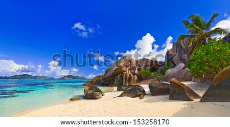 Panorama of beach Source d'Argent at Seychelles - nature background - stock photo