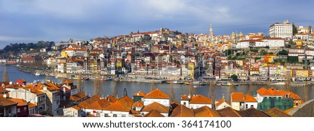 panorama of beautiful Porto ,Portugal - stock photo