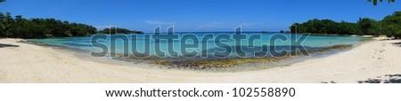 Panorama of beautiful Winnifred Beach, Port Antonio, Jamaica - stock photo