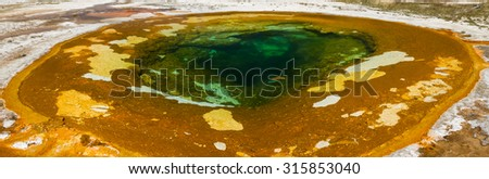 Panorama of Beauty Pool at Upper Geyser Basin, Yellowstone National Park, Wyoming - stock photo
