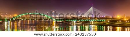 Panorama of Belgrade over the Sava river - Serbia - stock photo